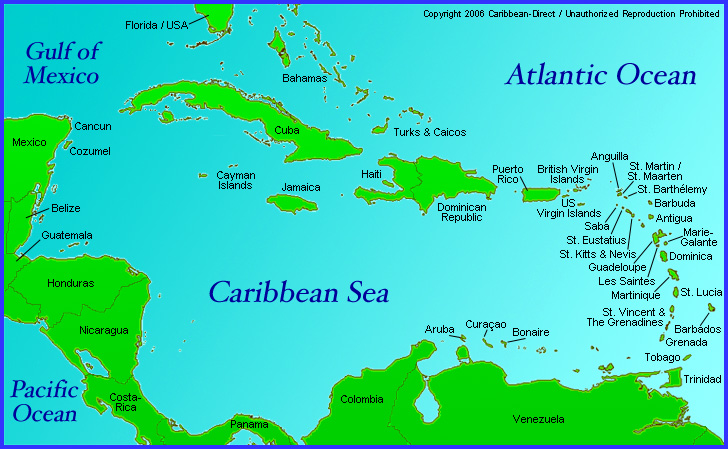 Caribbean Direct Map Of Region With Anguilla Antigua Barbuda